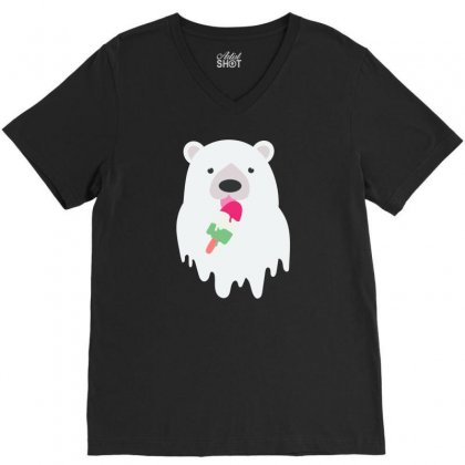 Melted Polar Cream V-neck Tee Designed By Specstore