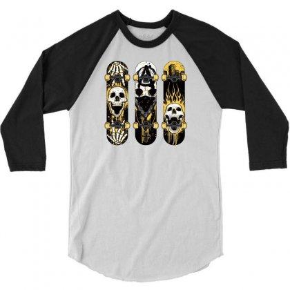 Burned Skate Skull 3/4 Sleeve Shirt Designed By Specstore