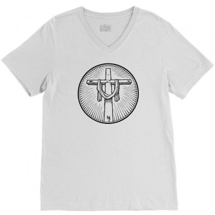 Easter Sunday Cross V-neck Tee Designed By Specstore