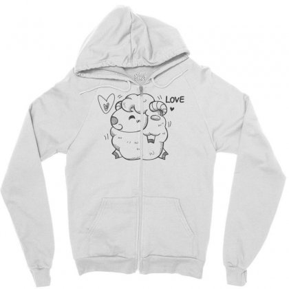 Happy Love And Life Sheep Zipper Hoodie Designed By Specstore
