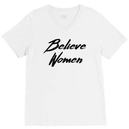 Believe Women V-neck Tee Designed By Feniavey