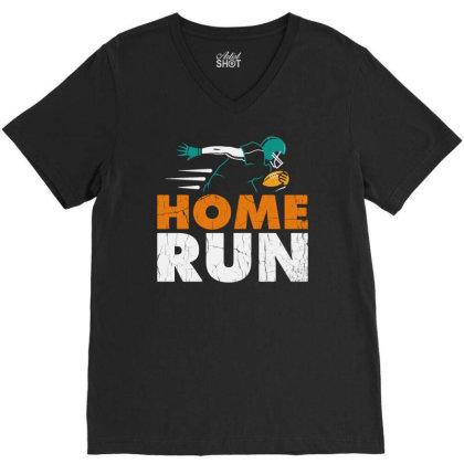 Home Run Football V-neck Tee Designed By Feniavey